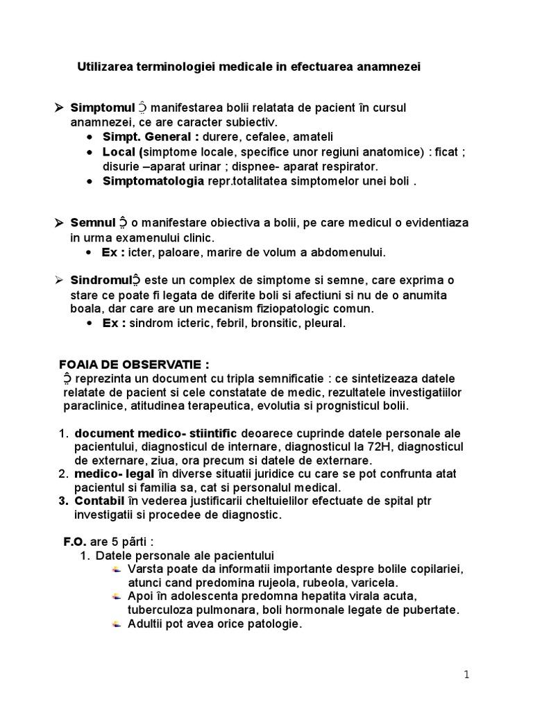 caracteristici ale plângerilor și anamnezei pentru bolile articulațiilor